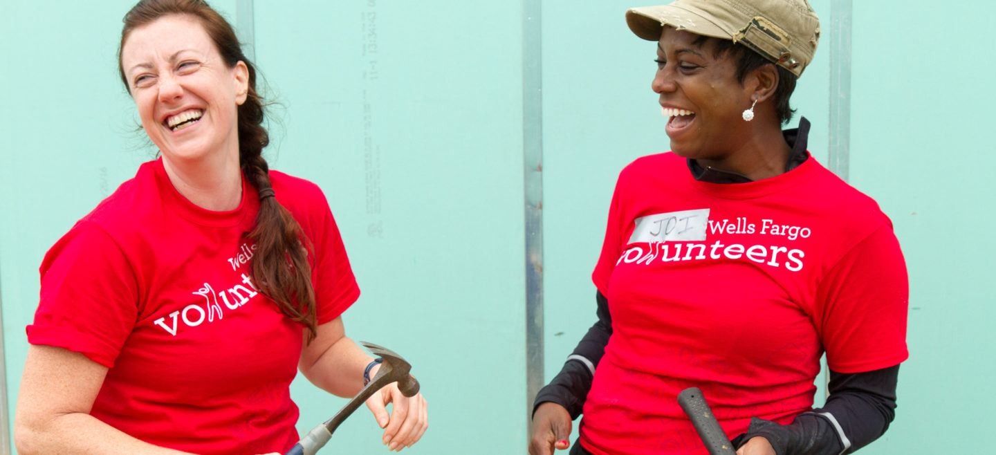 Wells Fargo volunteers help to frame our 46th Street project in Southeast D.C.