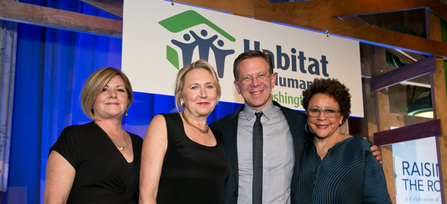 DC Habitat President and CEO Susanne Slater with 25th Anniversary honorees Dee MacDonald -Miller, Joel Towers, and Sheila Johnson.